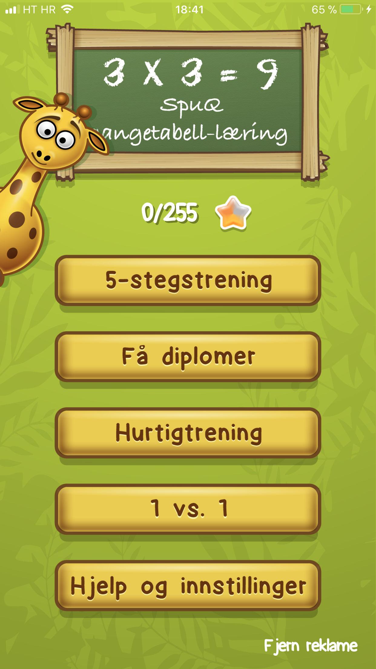 Gangetabell-appen, eksempel 1