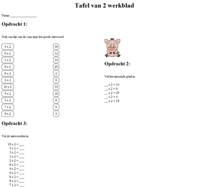 2 Times Table Watch Worksheet